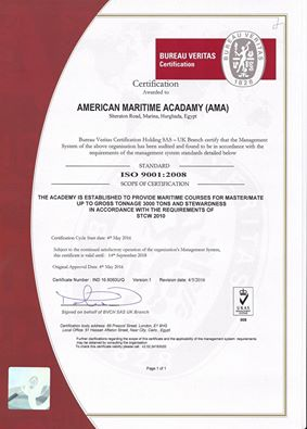 American Maritime Academy ISO Certificate
